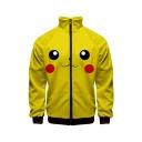 Hot Fashion Comic Printed Stand-Collar Long Sleeve Zip Placket Yellow Baseball Jacket