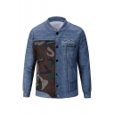Mens Hot Fashion Stand Collar Long Sleeve Camouflage Patched Single Breasted Blue Denim Jacket