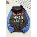 New Trendy Funny RIGHT WHEN LEFT Letter Print Colorblock Long Sleeve Zip Up Hooded Jacket For Men