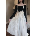 Stylish Asymmetric Peplum Waist Plain Overall Maxi Skirt