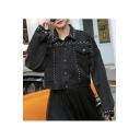 Classic Lapel Collar Flap Pockets Studded Cropped Black Denim Jacket Coat