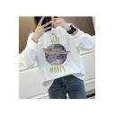 Lovely Cartoon Elephant Moon Print Long Sleeve Round Neck Sweatshirt