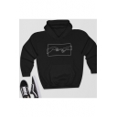 Basic Hand Printed Long Sleeve Pullover Hoodie with Pocket