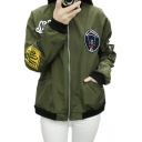 Women Thin Badge Appliqués Exaggerated Long Sleeve Flight Jacket