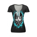 Summer Hot Stylish Cool Cat Print Short Sleeve V-Neck Short Sleeve Black T-Shirt