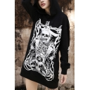 Fashionable Skull Print Long Sleeve Pocket Black Long Pullover Hoodie