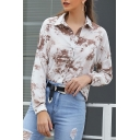 Womens Hot Stylish Tie-dye Print Long Sleeve Lapel Collar Button Front Casual Coffee Shirts