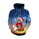 Christmas New Fashion Galaxy Cat 3D Printed Long Sleeve Blue Drawstring Hoodie