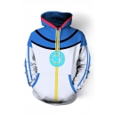 Popular Comic 3D Printed Cosplay Costume Blue and White Loose Fit Long Sleeve Drawstring Hoodie