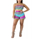 Womens Sexy Patchwork Reflect Light Strapless Sleeveless Bandeau Tops with Elastic Short Co-ords