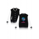 Hot Fashion Casual Letter WRID Pattern Stand Collar Long Sleeve Single Breasted Baseball Jacket