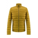Mens New Arrival Simple Plain Stand Collar Long Sleeve Zip Up Pockets Fitted Padded Jacket