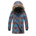 Men's Hot Stylish Tribal Print Single Breasted Long Sleeve Hood Concealed Longline Blue Padded Coat
