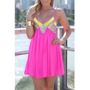 Womens Fashion Deep V Neck Sequined Patched Mini Pleated Chiffon Strap Dress