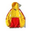Mens Trendy Colorblocked Button Down Letter MARINE SERRE Printed Long Sleeve Hooded Anorak Jackets