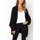 Ladies Casual Grace Plain Bat Long Sleeve Cable Knit Cardigan