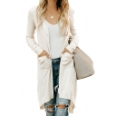 Ladies Casual Plain V Neck Long Sleeve Fitted Longline Midi Cardigan with Pockets