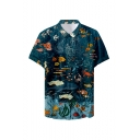 Mens New Trendy Cool Ocean Pattern Basic Short Sleeve Button Up Beach Casual Shirt