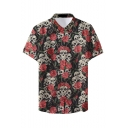 Mens Hot Fashion Unique Skull Pattern Basic Short Sleeve Button Up Beach Nightclub Shirt