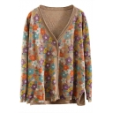 Ladies Casual Floral Print V-Neck Long Sleeve Fitted Cardigan
