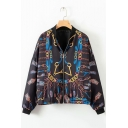 Chic Muli-Color Chain Printed Stand-Up Collar Zipper Short Bomber Jacket Coat for Women