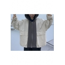 Big Flap Pocket Colorblocked Drawstring Hooded Zipper Oversize Workwear Jacket Coat