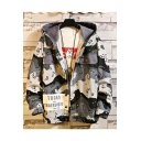Men's Fashion Street Style Ombre Camo Pattern Long Sleeve Button Down Hooded Workwear Jacket Coat