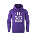 Popular Fashion Letter FLOSS LIKE A BOSS Printed Long Sleeve Sports Pullover Hoodie with Pocket