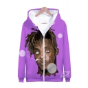 American Hot Popular Rapper Comic Figure 3D Printed Purple Long Sleeve Zip Up Hoodie