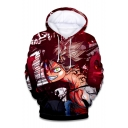 Comic Anime Character 3D Printed Long Sleeve Red Drawstring Pullover Hoodie