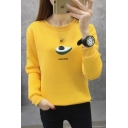 New Popular Avocado Letter Avocado Pattern Long Sleeve Pullover Sweatshirt