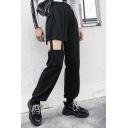 Womens New Fashion Asymmetrical Cut Out Elastic High Waist Cuffed Plain Sweatpants