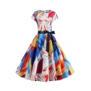 Womens Vintage Round Neck Cap Sleeve Color Block Tie Midi Fit Dress