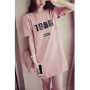 Womens New Fashion Round Neck Short Sleeve 1986 Letter Slit Loose Midi T-Shirt Shift Dress