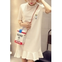 Womens Summer Round Neck Short Sleeve Letter Flashlight Embroidery Print Ruffles Swing Midi Dress
