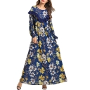 Moslem Simple Round Neck Long Sleeve Ruffles Floral Print Blue Loose Swing Column Maxi Dress