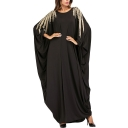Moslem Round Neck Batwing Sleeve Gold Beading Shift Black Maxi Dress