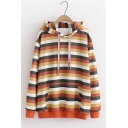 Students Fashion Orange Stripe Printed Long Sleeve Loose Leisure Hoodie