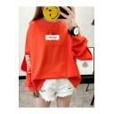 New Trendy MIKISYEM Letter Printed Cut Out Long Sleeve Loose Sweatshirt