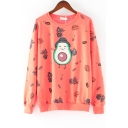 Hot Popular Letter Cute Cartoon Avocado And Dinosaur Printed Round Neck Long Sleeve Casual Sweatshirt