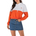 New Fashion Patchwork Color Block FRIEND Letter Embroidered Long Sleeve Cropped Hoodie