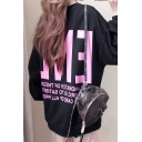 And Letter Printed Round Neck Long Sleeves Long Pullover Sweatshirt