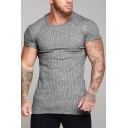 Summer Men's Short Sleeve Knitting Stretch Breathable Fitted Sport T-Shirt