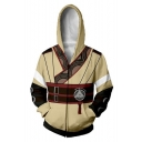 Fashion Fire Comic Cosplay Costume Beige Yellow Zip Up Sport Fitted Hoodie
