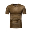 Mens Hot Trendy Short Sleeve V Neck Striped Printed Fitted Pullover T-Shirt