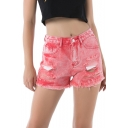 Trendy Red Washed Ripped Fringe Hem fitted Denim Shorts for Women