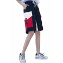 Womens Cool Unique Drawstring Waist Flap Pocket Bucket Belt Wide Leg Loose Straight Bermuda Cargo Shorts