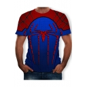 Summer Blue and Red Short Sleeve Round Neck Spider Man Printed Pullover Mens T-Shirt