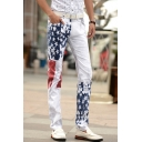 Men's Popular Fashion American Flag Printed White Casual Stretched Slim Fit Jeans