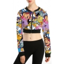 Womens Hot Stylish Long Sleeve Multicolor Cartoon Printed Zip Front Cropped Sweatshirt